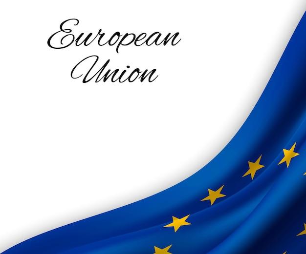Agitando a bandeira da união europeia em fundo branco.