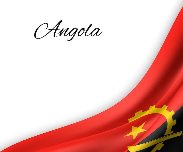Agitando a bandeira de angola em fundo branco.