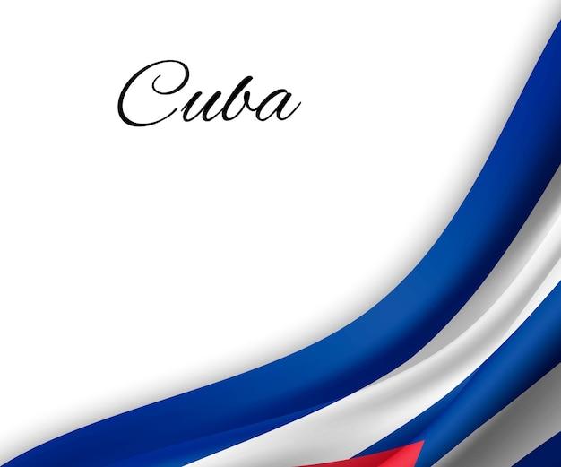 Agitando a bandeira de cuba em fundo branco.