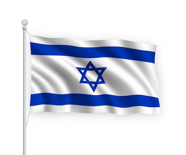 Agitando a bandeira de israel no mastro isolado no branco