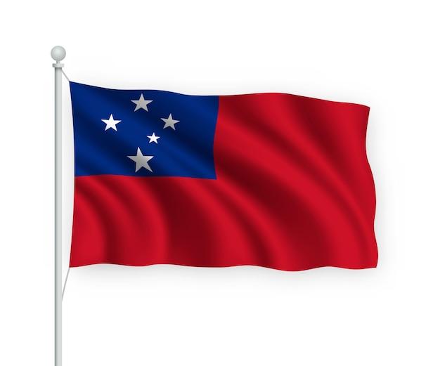 Agitando a bandeira de samoa no mastro isolado no branco