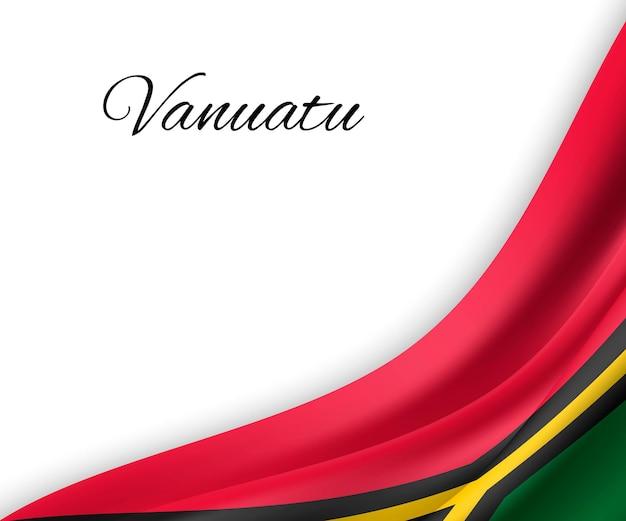 Agitando a bandeira de vanuatu em fundo branco.
