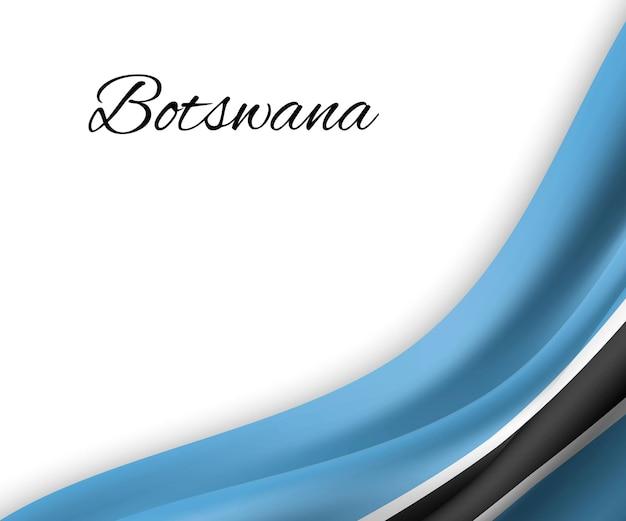 Agitando a bandeira do botswana em fundo branco.