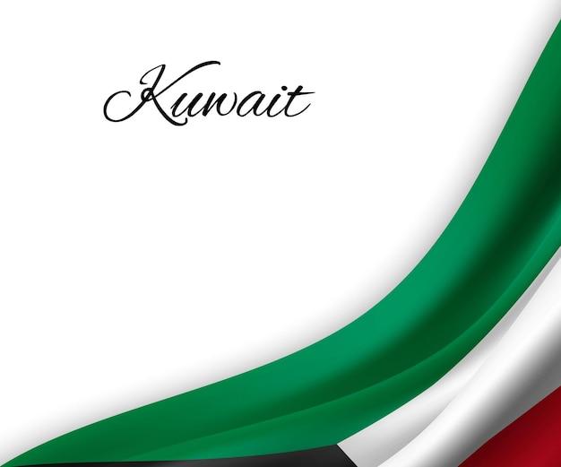 Agitando a bandeira do kuwait em fundo branco.