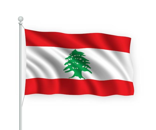 Agitando a bandeira do líbano no mastro isolado no branco