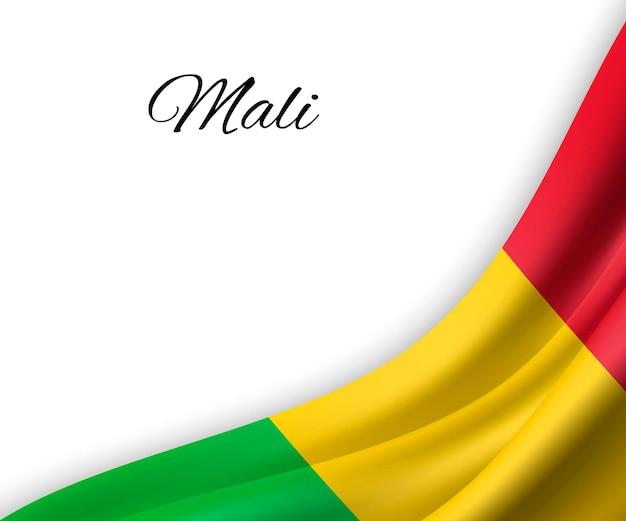 Agitando a bandeira do mali em fundo branco.