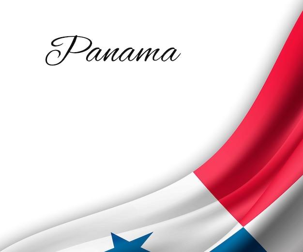 Agitando a bandeira do panamá em fundo branco.