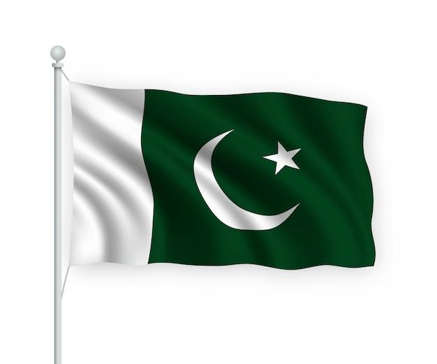 Agitando a bandeira do paquistão no mastro da bandeira isolado no branco