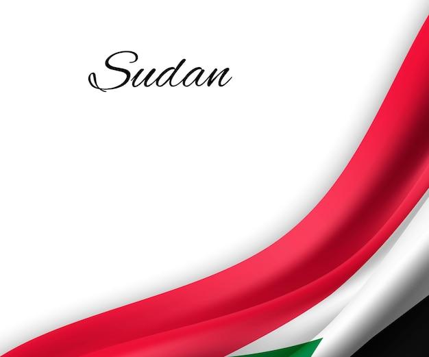 Agitando a bandeira do sudão em fundo branco.
