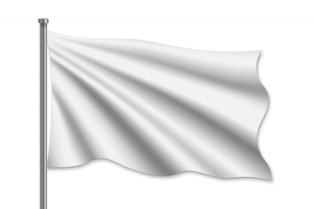 Agitando a bandeira em branco no mastro da bandeira.