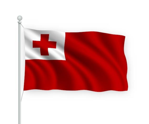 Agitando bandeira tonga no mastro isolado no branco