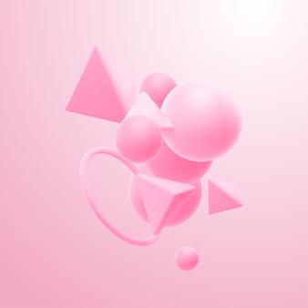 Aglomerados de formas geométricas rosa