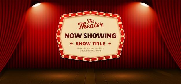 Agora mostrando a placa do sinal clássico retrô com o modelo de texto. cenário de cortina de palco de teatro vermelho