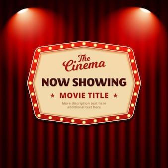 Agora mostrando o filme no design de cartaz de cinema. sinal de outdoor retrô com holofotes e fundo de cortina de teatro