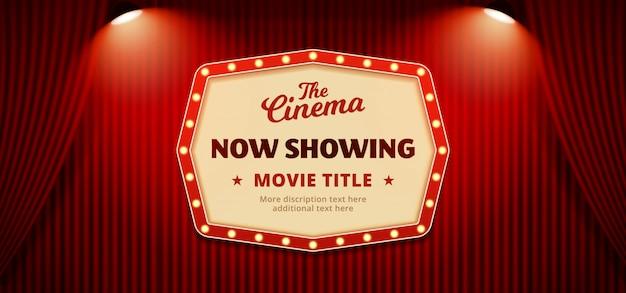 Agora, mostrando o fundo de banner de cartaz de cinema cinema