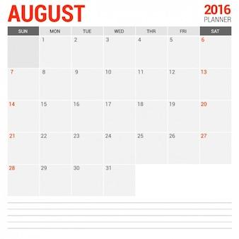 Agosto calendário mensal 2016