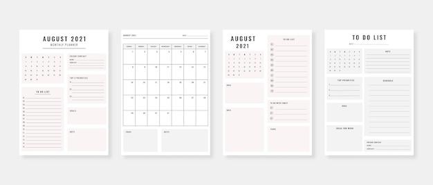Agosto de 2021 planejador conjunto de modelos de planejador moderno conjunto de planejador e lista de tarefas modelo de planejador diário semanal mensal ilustração vetorial