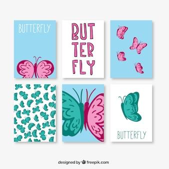 Agradáveis cartões de borboletas desenhadas à mão