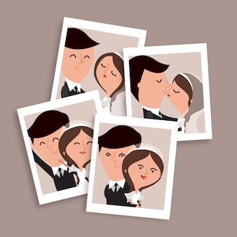 Agradáveis desenhadas mão pares do casamento fotos