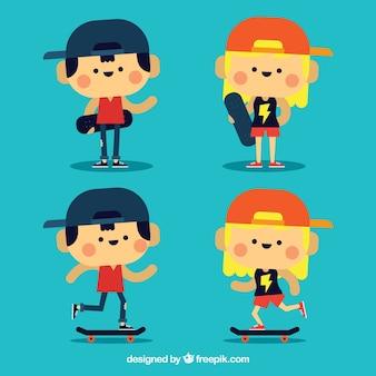 Agradáveis personagens de skaters
