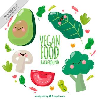 Agradáveis vegetais personagens fundo