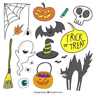 Agradável coleção desenhada a mão de atributos de halloween