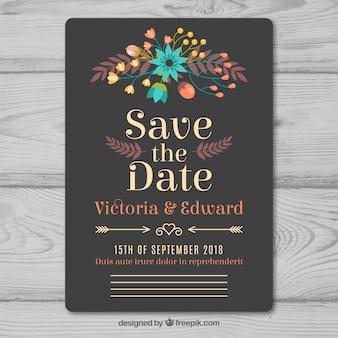 Agradável convite de casamento cinza em estilo vintage