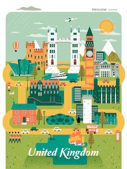 Agradável design de cartaz de viagens para o reino unido com atrações