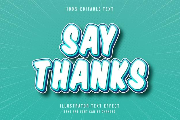 Agradeça em 3d com efeito de texto editável gradação de azul e estilo cômico moderno