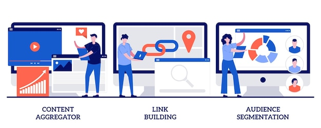 Agregador de conteúdo, link building, conceito de segmentação de audiência