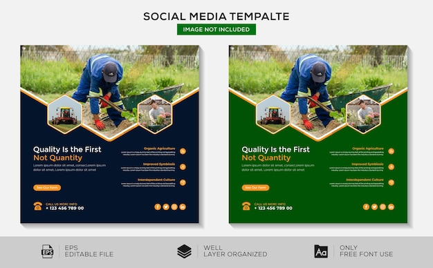 Agrícola modelo de postagem do instagram para mídias sociais