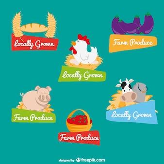 Agrícolas produzidos os rótulos dos alimentos