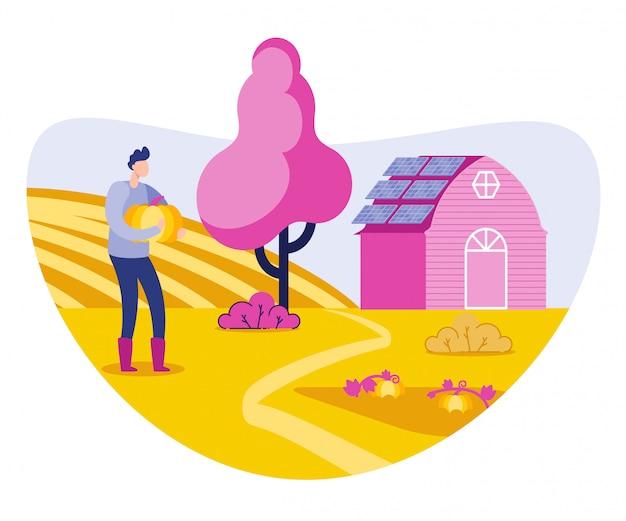 Agricultor a crescer plantas orgânicas e legumes.