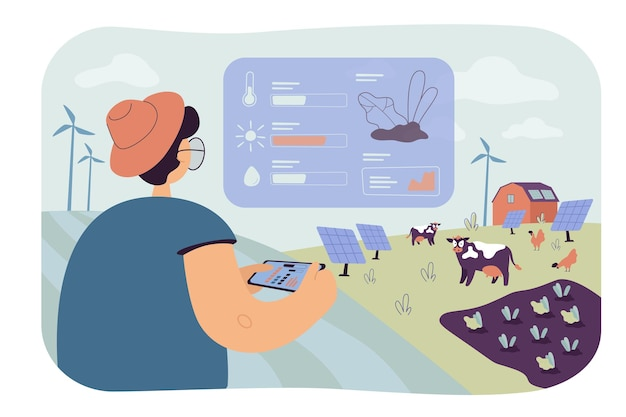 Agricultor analisando dados sobre ilustração plana isolada de agricultura ecológica