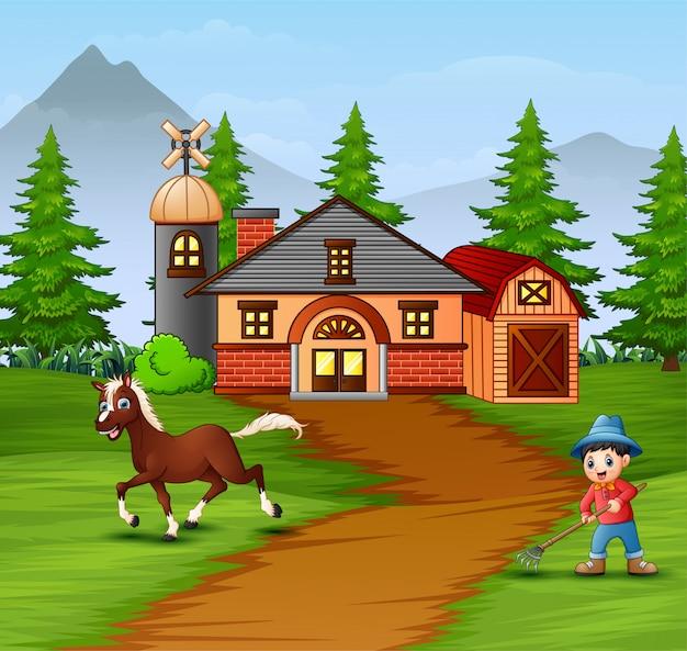 Agricultor com animais de fazenda na fazenda