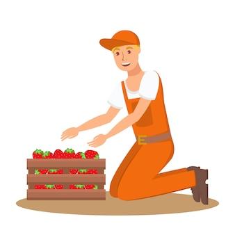 Agricultor com caixa de morangos ilustração plana