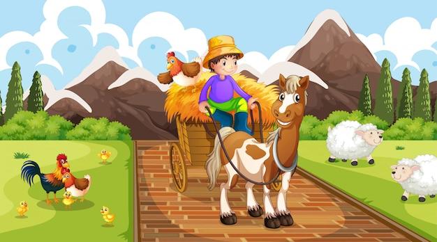 Agricultor com cena de animais de fazenda