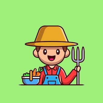 Agricultor com cesta de legumes e ilustração do ícone dos desenhos animados garfo de solo. conceito de ícone de profissão de pessoas isolado. estilo flat cartoon