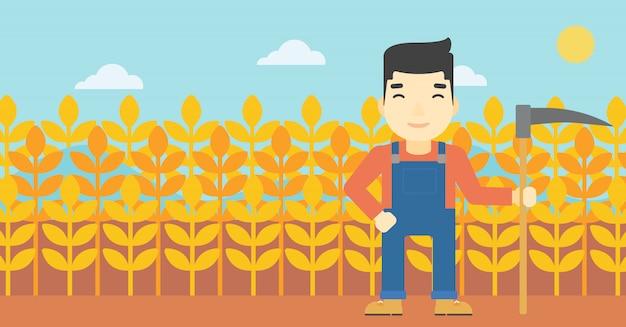Agricultor com foice