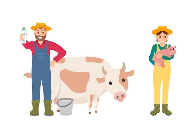 Agricultor com ilustração de conjunto de porco e vaca