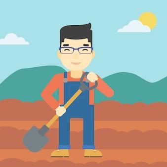 Agricultor com pá