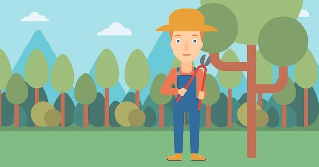 Agricultor, com, podador, em, jardim