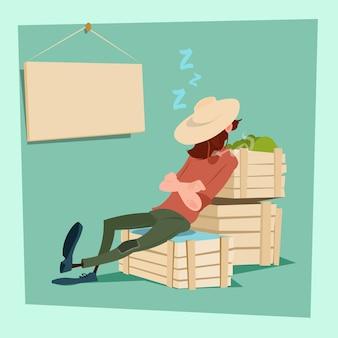 Agricultor countryman dormindo em caixas de vegetais