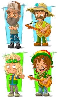 Agricultor de caipira dos desenhos animados com conjunto de caracteres de guitarra