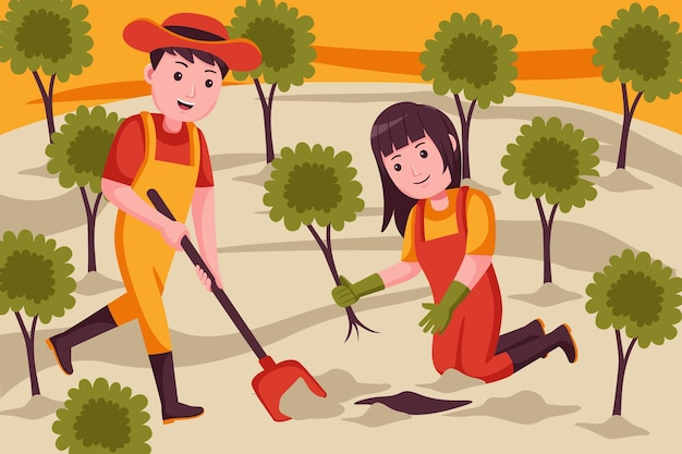 Agricultor de casal cavando o solo para o plantio de plantas.