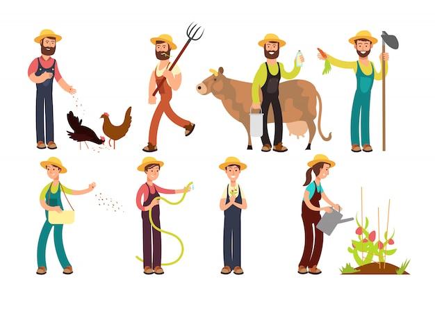 Agricultor de desenho animado e jardineiros com ferramentas e conjunto de caracteres de animais de fazenda