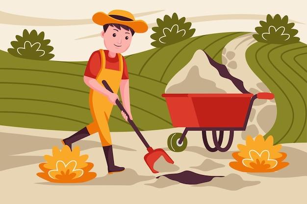 Agricultor de homem cavando o solo para o plantio de plantas.
