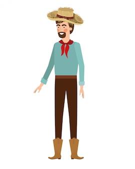 Agricultor de homem com chapéu de palha