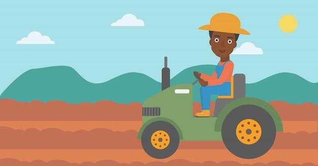 Agricultor, dirigindo, trator