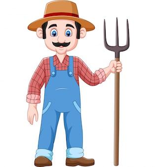 Agricultor dos desenhos animados segurando um forcado